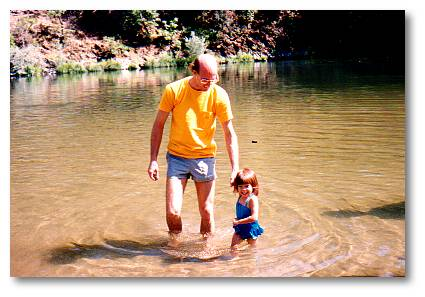 Wading with dad at Acadia National Park in Maine
