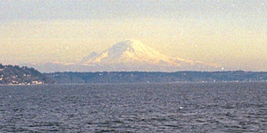Mt Ranier as seen from Pueget Sound near Seattle.