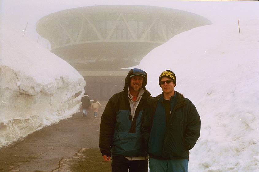 Me and Jeff in front of the visitors center at Paradise on Mt Ranier after snowshoeing.