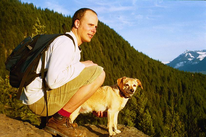 Jeff with Acadia at the summit of Mt Si