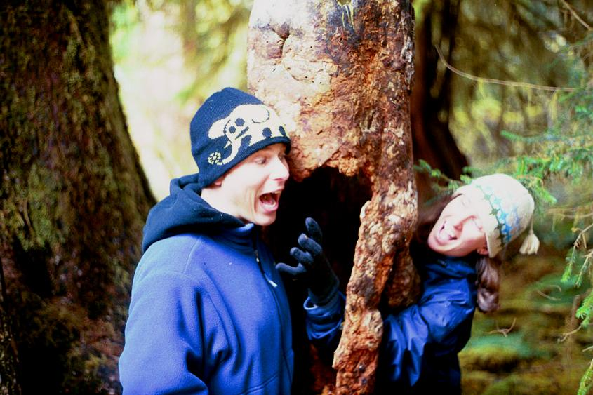 Sarah frightening Jeff through the tree.