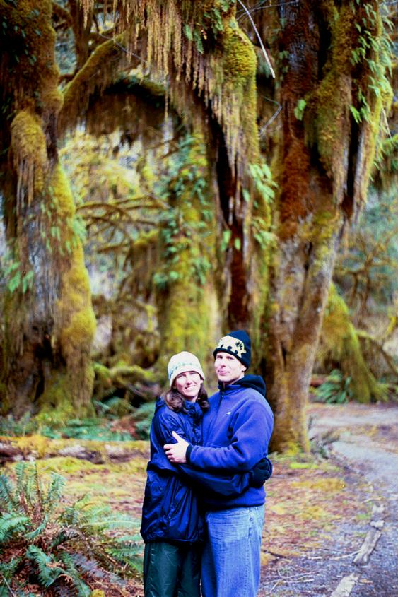 Jeff and Sarah in the Hoh rainforest, the morning after camping there.
